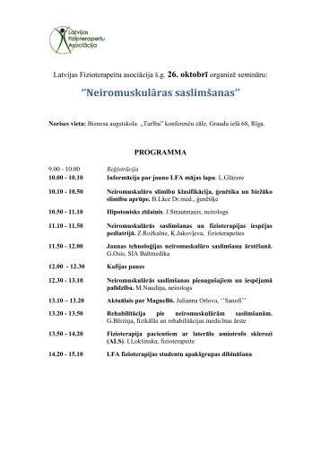 Semināra programma - Latvijas Fizioterapeitu asociācija