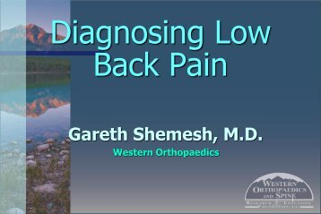 Diagnosing Low Back Pain - Western Orthopaedics