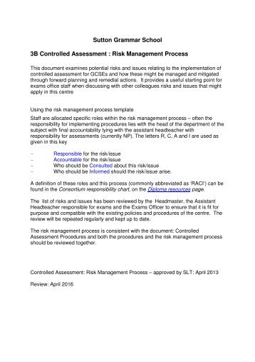 3b controlled assessment risk management policy sutton