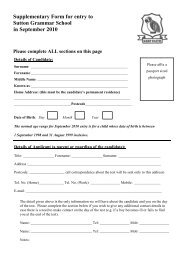 Supplementary Form for entry to Sutton Grammar School in ...