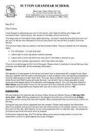 May 2012 Dear Parents - Sutton Grammar School