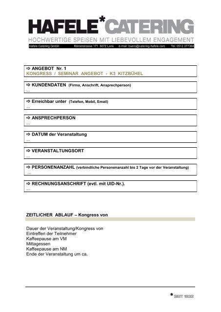 Hafele Catering Factsheet 2 Kitzkongress