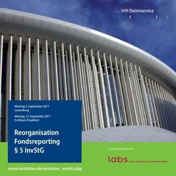 Reorganisation Fondsreporting § 5 InvStG - WM Datenservice