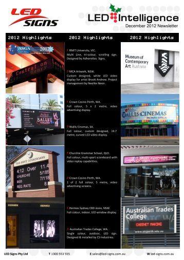 December 2012 Newsletter - LED Signs Australia