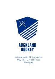 Naonal Under 21 Tournament May 5th—May 11th 2013 Whangarei