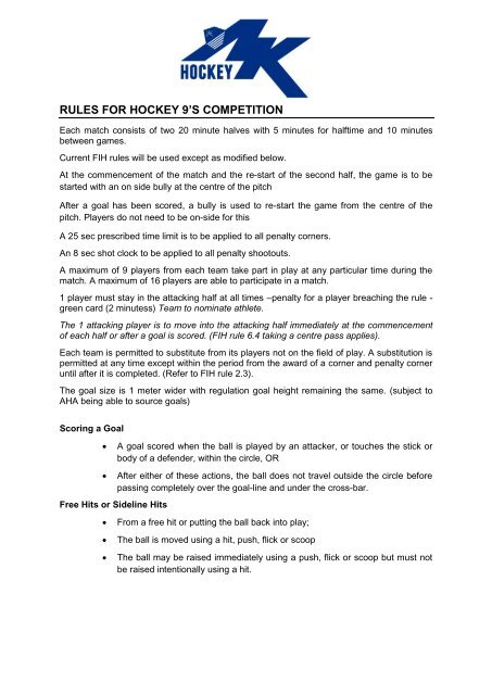 Rules For Hockey 9 S Competition