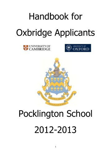 Oxbridge Handbook - Pocklington School