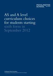 A Level Curriculum Choices 2012 - Pocklington School