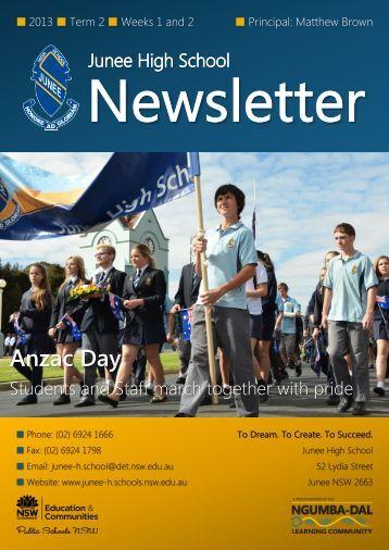 No 6 Newsletter May 2013 - Junee High School