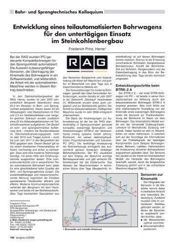 Entwicklung eines teilautomatisierten Bohrwagens für den ... - RDB eV