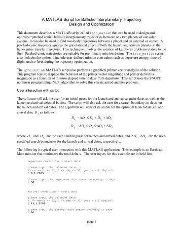 A MATLAB Script for Ballistic Interplanetary Trajectory - Orbital and ...