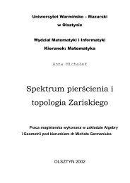 Spektrum pierscienia.pdf - Wydział Matematyki i Informatyki UWM w ...