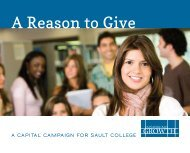 Inspiring Growth Capital Campaign Case For Support - Sault College