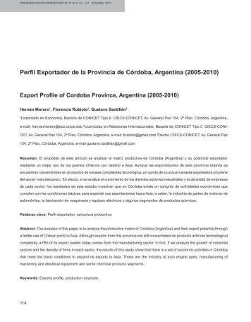 Perfil Exportador de la Provincia de Córdoba, Argentina - Revista ...