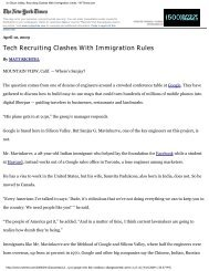 In Silicon Valley, Recruiting Clashes With Immigration Limits ...