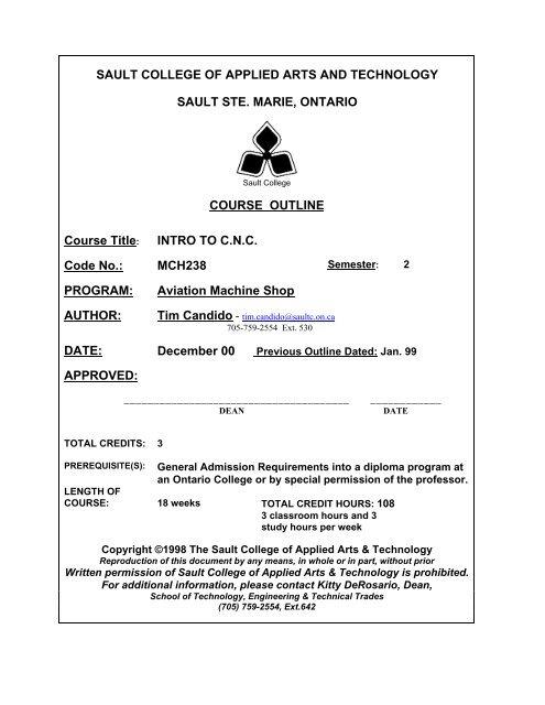 Mch238 Intro To Cnc Pdf Sault College