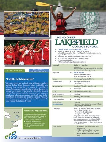 Lakefield College - Canadian International Student Services