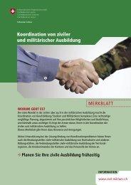 MERKBLATT Koordination von ziviler und militärischer Ausbildung