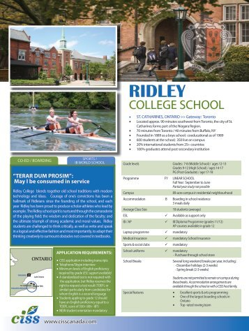 Ridley College School - Canadian International Student Services