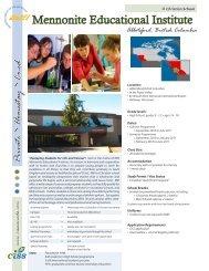Mennonite Educational Institute - Canadian International Student ...