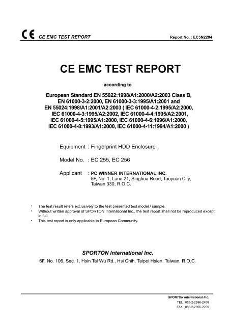 CE EMC TEST REPORT - pc winner international inc
