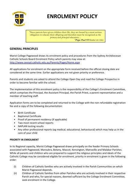 Enrolment policy pdf - Marist College Pagewood