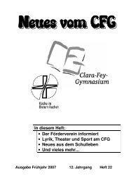 Neues vom CFG - Clara-Fey-Gymnasium Schleiden