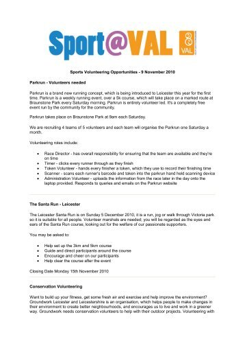 Sports Volunteering Bulletin - Inspire LeicesterShire