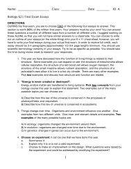 A 1 Biology 621 Final Exam Essays - nnhsbergbio
