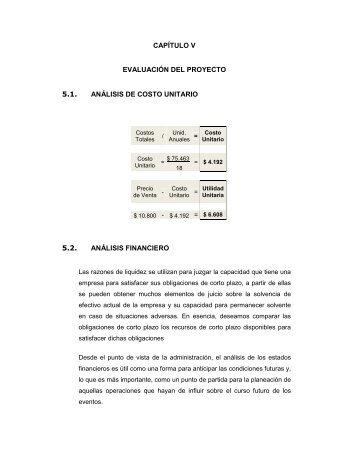 capítulo v evaluación del proyecto 5.1. análisis de costo unitario 5.2 ...