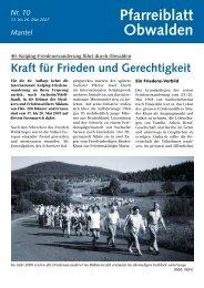 Pfarreiblatt 10 – Kraft für Frieden und Gerechtigkeit - Kirche Obwalden