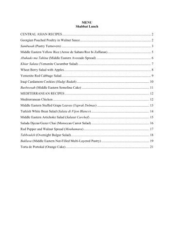 Print Recipe Set - Congregation Olam Tikvah