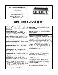 Theme: Make a Joyful Noise - Iowa Yearly Meeting (Conservative)