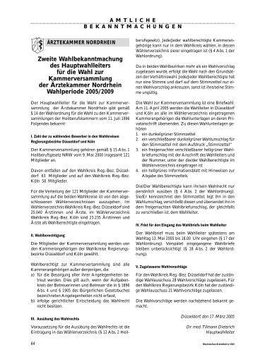 zweite wahlbekanntmachung des rztekammer nordrhein