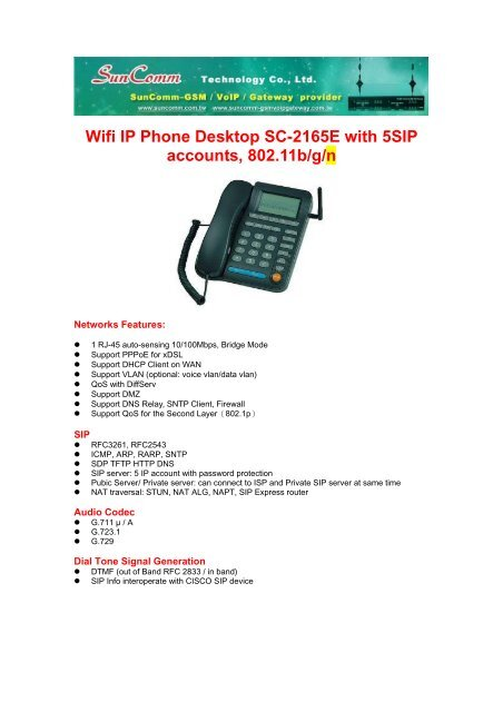 Wifi IP Phone Desktop SC-2165E with 5SIP accounts, 802 11b/g/n