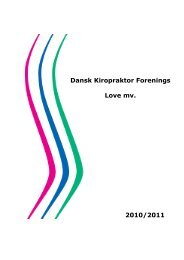 Dansk Kiropraktor Forenings Love mv. 2010/2011