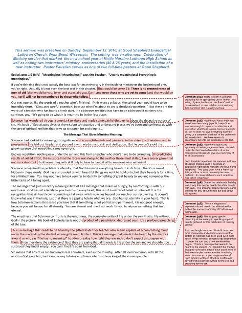 Sermon - Ecclesiastes 1 - Paustian - Manuscript Commented (PDF)