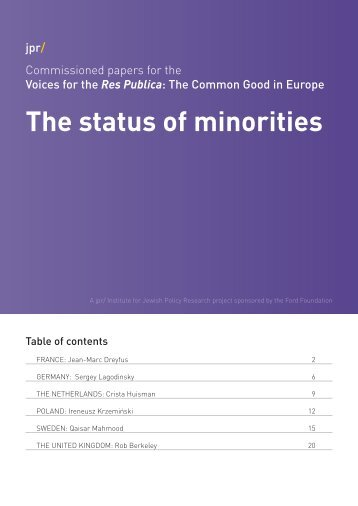 The status of minorities - Institute for Jewish Policy Research