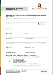 Bewerbungsformular Application form - Villa Rosenthal