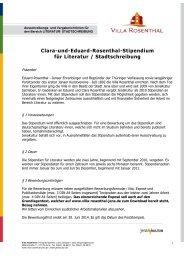 Clara-und-Eduard-Rosenthal-Stipendium für ... - Villa Rosenthal
