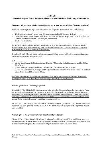 Merkblatt zum Abriss von Gebäuden - Jena