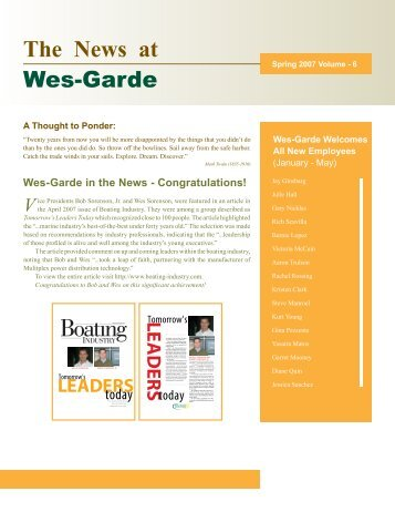 The News at - Wes-Garde Components