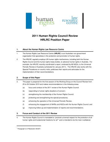 position paper human rights In order to support a social and humane life of the growing migrant population, the republic of korea, dedicated to the universal declaration of human rights.