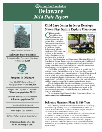 Arbor Day Foundation State Report for Delaware