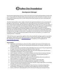 Development Manager - Arbor Day Foundation
