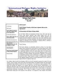 May newsletter - International Refugee Rights Initiative