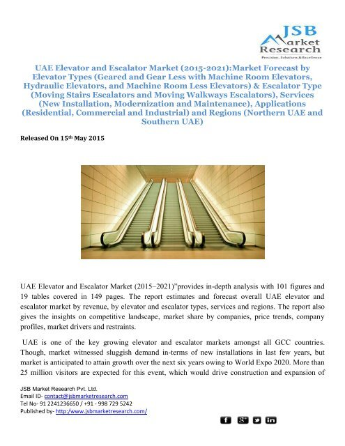 JSB Market Research: UAE Elevator and Escalator Market (2015