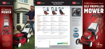 Toro Personal Pace Specifications - Parkland Products