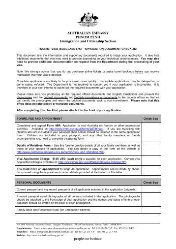 876 application for transit visa for australia subclass for Documents checklist passport