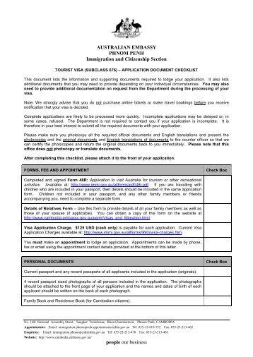 tourist-visa-subcl-676-checklist-australian-emby Australian Visitor Visa E Application Form on canada immigration application form, australian tourist visa form, example application form, citizenship application form, green card application form, australian student visa,
